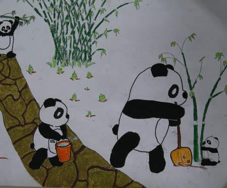 成都市熊猫路小学五年级(二)班的黄玉梅小朋友的作品《禁止砍伐树木》